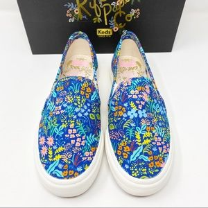 Keds x Rifle Paper Co Blue Floral Sneakers 7.5